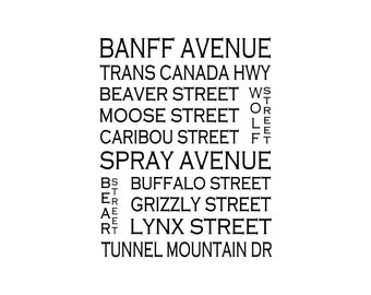 Banff Alberta - Love This Place Street Name Art Print on Paper - Customize With Your Street - Home Decor - Canada TheJitterbugShop