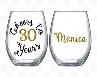 Cheers to 30 years, 30th birthday gift for women, gift for 30 years old, Turning 30, 30th birthday wine glass, 30th birthday for her