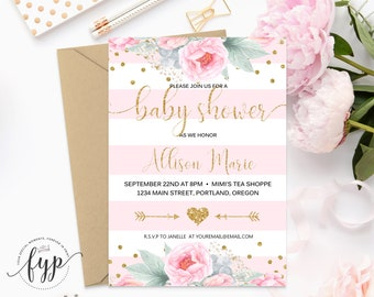 Pink and Gold Baby Shower Invitation, Baby Shower Invitation Girl, Girl Baby Shower Invite, Baby Girl Shower, Baby Girl Invite, Confetti