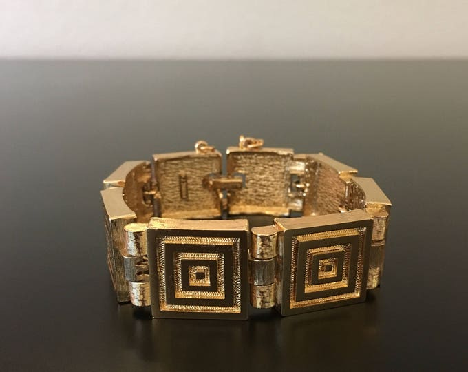 Wide Gold Square Link Bracelet with Geometric Design by Monet