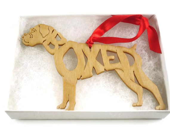 Boxer Dog With Un-cropped Ears Christmas Ornament Handmade from Birch Wood By KevsKrafts BN-6