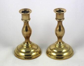 Pair of Small Brass Candle Sticks Plain Ring Design Round Base Metal Mini Candlesticks