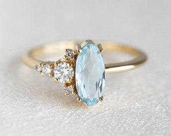Aquamarine Engagement Ring, Aquamarine Diamond Ring, Oval Engagement Ring, Unique Engagement Ring, Diamond Ring, Oval Ring, Cluster Ring