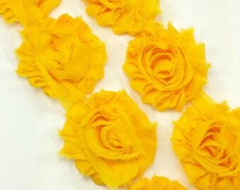 Golden yellow-  Shabby flower trim - Shabby flowers