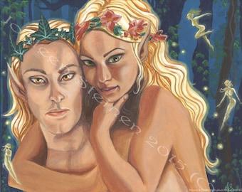"""Oberon and Titania - Giclee, Print, Original Art, 13.5 x 9.5"""""""