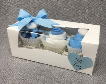 Baby Boy Onesie Cupcakes, Baby Shower Gift, Unique Baby Gift, Baby Boy Gift