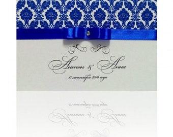 Delicate Wedding Invitation Card with Ribbon & Crystal, Damask Pattern, Custom Design, Personalized Invitation, Wedding Stationery