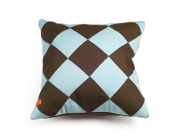 "Kvadrat Baby Blue Squares Cushion 16"" x 16"""