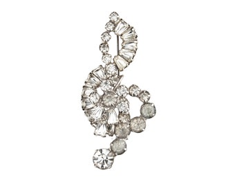 Vintage Clear Rhinestone Musical Staff Note Brooch