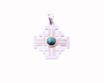 Sterling Malachite Cross Pendant