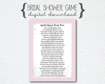 Pink Gray/Grey Bride Bridal Shower Poem - Points Game Poem