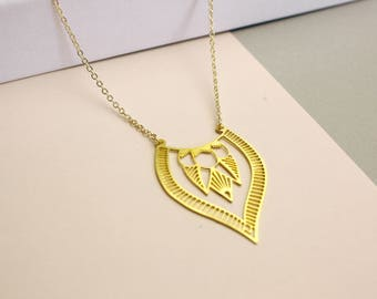 Gold-plated brass boho necklace pendant-