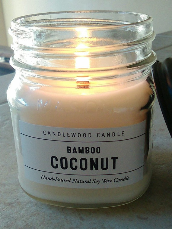 Bamboo Coconut - Limited Edition - Apothecary Mason Jar Candles - Natural Soy Wax + Wood Wick 9 oz with Black Lid