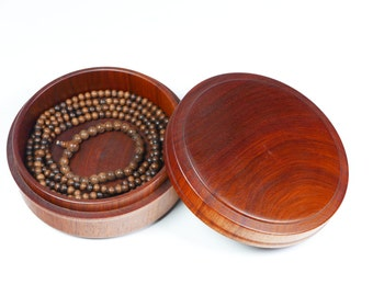 "4.75"" Rosewood Unibody Storage Case Jar with a turned Lid Jewelry Case Medicine Chest Headset Box Necklace Box Wooden Box Storage Supply"