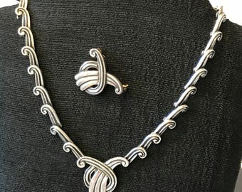 Margot de Taxco, Deco, sterling, choker necklace and pin