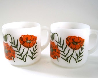 Retro FEDERAL Poppies Milk Glass Mugs c. 1950s, Orange Kitchen Mugs, Floral Mugs, Vintage Mugs