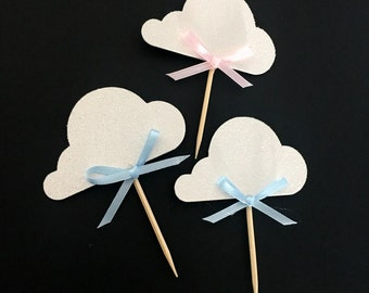 up up and away themed party .. cloud cupcake toppers .. baby shower .. birthday party