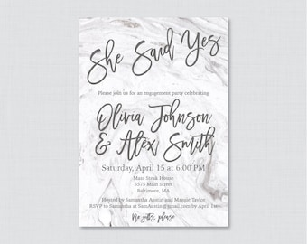 Marble Engagement Party Invitation Printable or Printed - Gray and White Marble Engagement Party Invitations, She Said Yes Invitations 0029