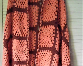 Granny Square Shawl-Poncho/ Hand Crochet/ Peach and Brown/ Shabby and Chic/ Funky Romantic / Gameday Coverup/ Shabbyfab Thrift