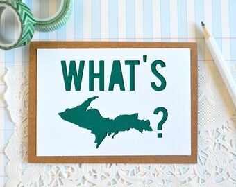 SALE  Michigan Greeting Card, What's UP card, Thinking of You Card, Hello Card - Note Card - Blank Card