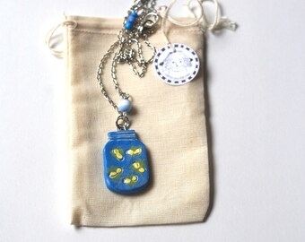 Let your light shine lightning bug firefly polymer clay pendant necklace original art by Cortney Rector Designs