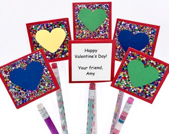 Kids Pencil Valentine Cards, Personalized Valentine Pencil Favors, School Valentine's Day Party Treats, Classroom Valentine Pencil Favors
