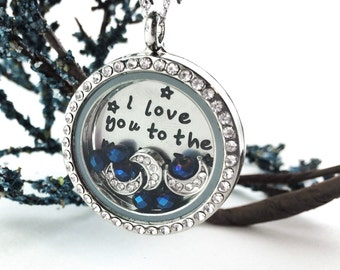 I Love You To The Moon and Back Necklace - Sterling Silver Mom Necklace - Birthstone Crystals - Floating Locket Pendant I Love You Necklace
