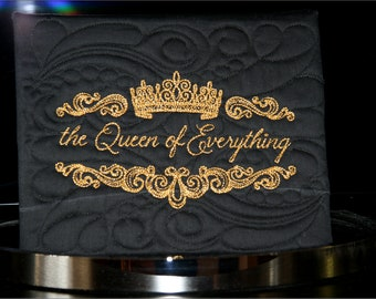 Quilted Canvas featuring Embroidered Metallic Gold Text - The Queen of Everything - 8x10 canvas by Mary Brader #642