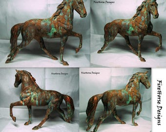 ON SALE Porcelain Horse Sculpture Finished in Faux Tarnished Bronze with Green Patina