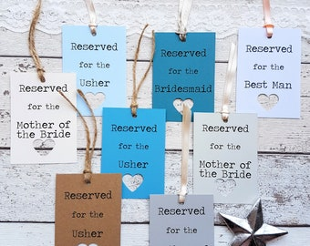 20 Rustic Wedding Reserved Sign Tags Personalised. 21 Colour Options Heart Cut Out Detail. Handmade with Lace, Twine or Ribbon. Wedding Sign
