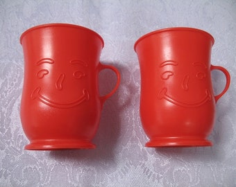 Vintage Set of 2 Red Plastic Kool Aid Cups Mugs