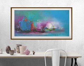 teal blue and magenta modern still life,blush pink turquoise painting long horizontal narrow canvas,turquoise abstract still life oil canvas