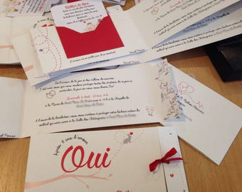 Wedding invitation red and grey Bunny