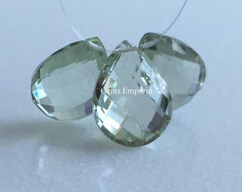 Green Amethyst Pear 16 x 12 MM Faceted Drops / Top Side Drilled / Briolette Drops / Prasiolite Drops. Price Per Drop.