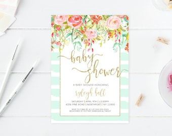 Baby Shower Invitation, Floral Baby Shower Invite, Pretty Baby Shower Invite, Printable Baby Shower Invite, Baby Sprinkle Invitation [415]