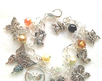 FREE Ship! Butterfly Charm Bracelet. Butterflies. Charm Bracelet.  BC09