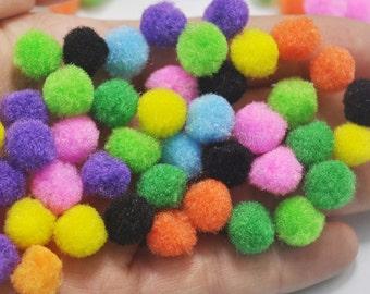 50pcs Pom Poms, Mixed color Pompoms, 12mm, Craft Supply Kit,Pompom Balls, Pom Pom Balls, Fiber Balls, Fiber Pompoms,toy eye accessories
