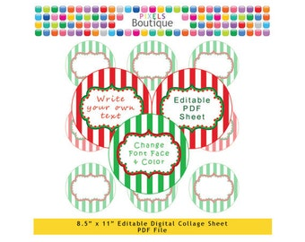 PDF Editable Christmas Stripes 2 Inch Circles Digital Collage Sheet (No. 146) Stickers Labels Cupcake Toppers