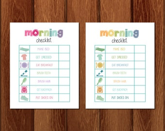 Morning checklist printable, Instant Download