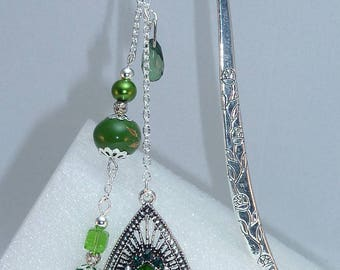 "Large bookmark Silver ""Indian"" green"