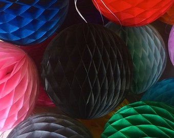 Black 10 Inch Honeycomb Tissue Paper Balls - Paper Party Decor Decoration Supplies