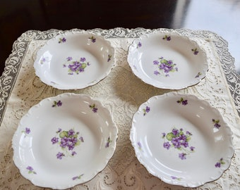 Bavaria E&R China Violette Pattern Set of 4, 1950s
