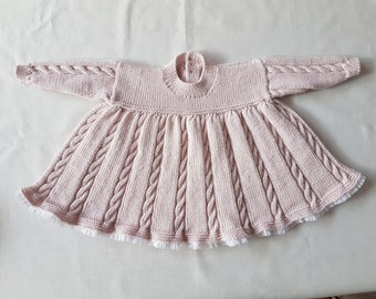 SALE Hand-knitted vintage 4 ply cable knit lace-trimmed dress size 3-6 months