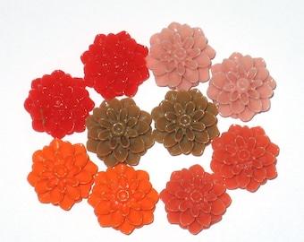 DEAL 15mm Resin Chrysanthemum Cabochons Autumn Mix (20)