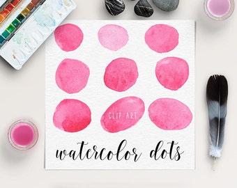 Watercolor Circles Clip Art | Pink Watercolor Dots | Watercolor Splotches | Logo Design, Blog Design | Coupon Code: BUY5FOR8