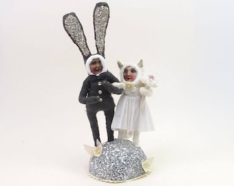 READY TO SHIP Vintage Inspired Spun Cotton Bunny and Kitty Wedding Cake Topper