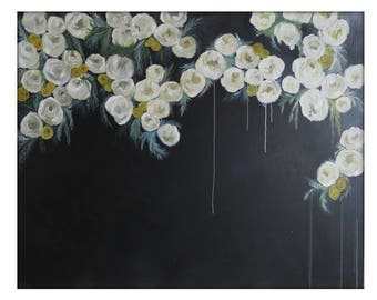 Extra Large Abstract Original Flower Painting on Canvas Modern Acrylic Painting - 48x60