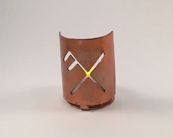 Bind Rune for Good Luck copper tea light holder