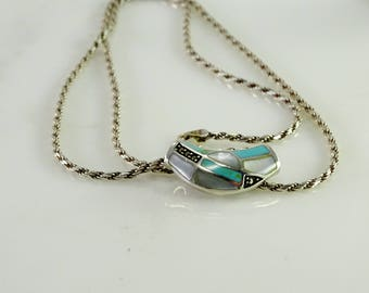 """Inlaid Sliding Pendant on a 23"""" Chain All Sterling Silver"""