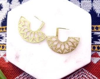 Gold minimalist tribal studs// Ethnic sun burst earrings//Gold sun earrings//open hoop earrings//tribal gold hoops//The Armina